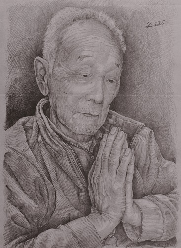 【優秀賞・一般投票賞】絵画部門『卒寿の祈り』